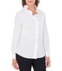 women's foxcroft gwen stretch ruffle button-up shirt, size 8 - white
