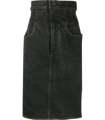 jean paul gaultier pre-owned 1990s super-high waist denim skirt - grey