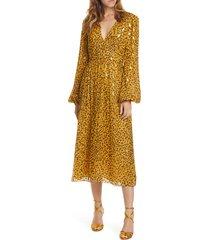 women's saloni camille sequin midi dress, size 8 - yellow