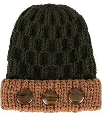 0711 crystal bead knit beanie - green