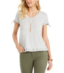 style & co ruffled-hem tie-sleeve top, created for macy's