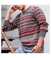 men's 100% alpaca sweater, 'ice fire' (peru)