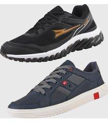 kit 2 - tênis caminhada e sapatênis casual ryn r500c preto e azul marinho
