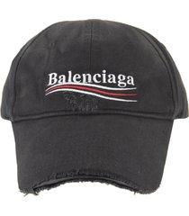 balenciaga woman black political campaign destroyed baseball cap