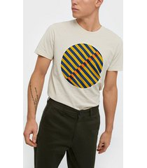 selected homme slhjared print ss o-neck tee w t-shirts & linnen bone white