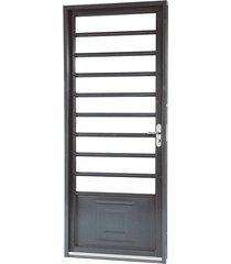 porta de aço de abrir belfort com almofada com divisão 1 folha abertura esquerda 217x87x6,5 - sasazaki - sasazaki