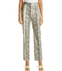 women's rotate robyn snake embossed faux leather high waist straight leg trousers, size 2 us - grey