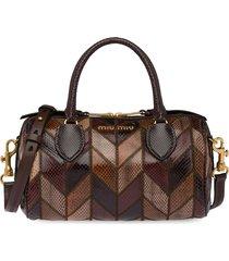 miu miu patchwork tote bag - brown