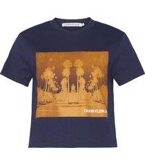 camiseta manga corta cropped cali landscape t-shirt azul calvin klein