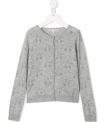 bonpoint cherry knit cardigan - grey