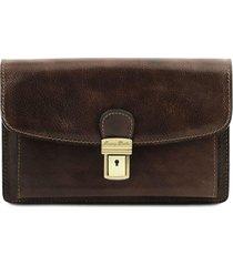 tuscany leather tl141444 arthur - esclusivo borsello a mano in pelle testa di moro