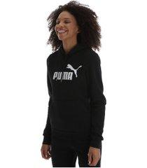 blusão de moletom com capuz puma essentials logo hoody fleece - feminino - preto