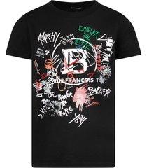 balmain black boy t-shirt with logo and colorful writing