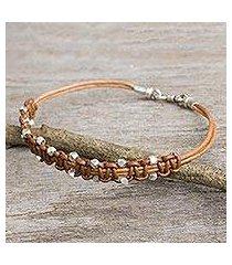 men's leather bracelet, 'cool brown' (thailand)