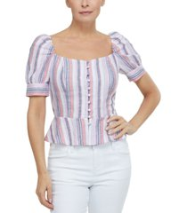 laundry by shelli segal puff-sleeve peplum top