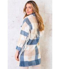 woven jacket fringe blauw