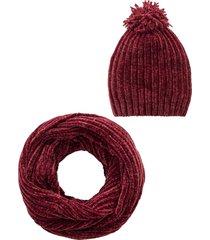 berretto e sciarpa ad anello in ciniglia (set 2 pezzi) (rosso) - bpc bonprix collection