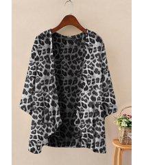 camicetta cardigan sottile manica 3/4 stampa leopardata