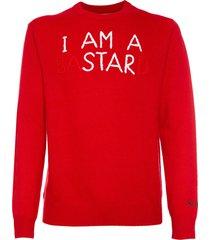 mc2 saint barth man red sweater i am a bastard embroidery