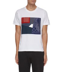 boro square patchwork reflective triangle gusset t-shirt
