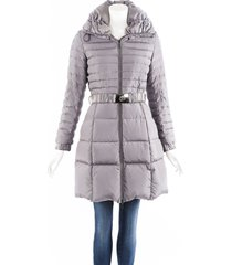 moncler fraxinelle gray hooded belted puffer coat gray sz: xs