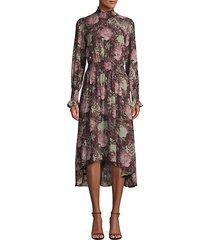 floral high-low smocked dress
