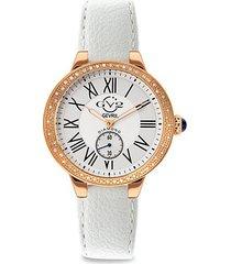 astor stainless steel, diamond & vegan leather-strap watch