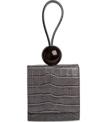 by far women's ball croc-embossed leather shoulder bag - grey