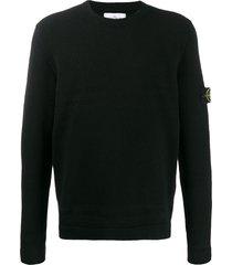 stone island crew neck sweater - black