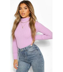petite knitted lettuce hem high neck top, lilac