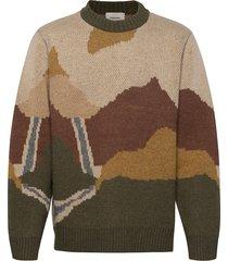 haza landscape knit sweater gebreide trui met ronde kraag beige holzweiler
