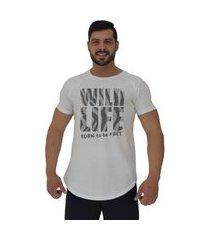 camiseta longline alto conceito wild life branco