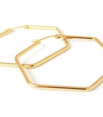 candongas hexagonales mujer acero - dorado