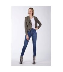 calça basic high flare jeans medio - 36