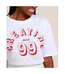 "t-shirt feminina mindset creating since 99"" manga curta decote redondo branca"""