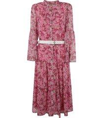 michael kors belted waist floral print dress