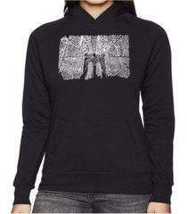la pop art women's word art hooded sweatshirt - brooklyn bridge