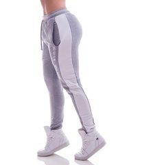 calça jogger advance clothing confort cinza/branco