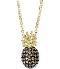 "effy diamond pineapple 18"" pendant necklace (1/4 ct. t.w.) in 14k gold"