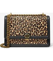 mk borsa a spalla monogramme in pelle effetto cavallino stampa leopardo e catena - grano (naturale) - michael kors