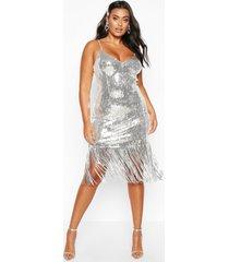 plus bustier midi jurk met pailletten en kwastjes, silver