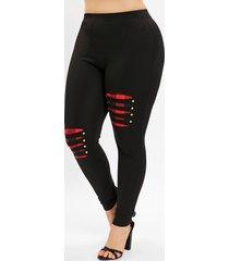 plus size ripped plaid panel leggings