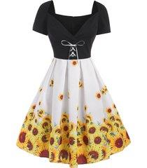 sunflower watermelon print lace up midi dress