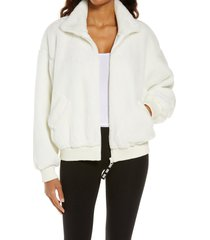 women's ugg laken mock neck fleece jacket, size medium - white