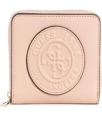 billetera celestine slg small zip around rosado guess