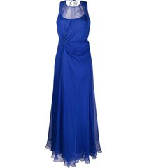 alberta ferretti draped asymmetric silk gown - blue