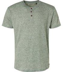 no excess 96350406 melange rib granddad collar t shirt 055 olive no-excess