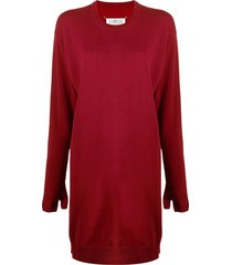 maison margiela mittens knitted long-sleeve dress - red