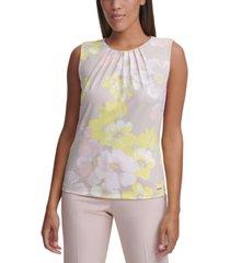 calvin klein petite sleeveless floral-print pleat-neck knit top