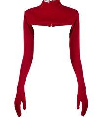 atu body couture glove detail top - red